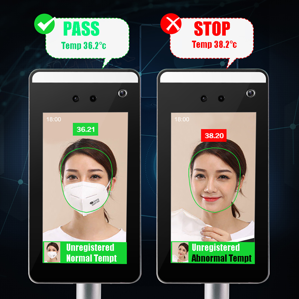 Image 3 - Face Recognition Thermo Camera Body Temperature Detector Access Control Non contact Fever Imager Thermal Camera with Voice AlarmSurveillance Cameras   -