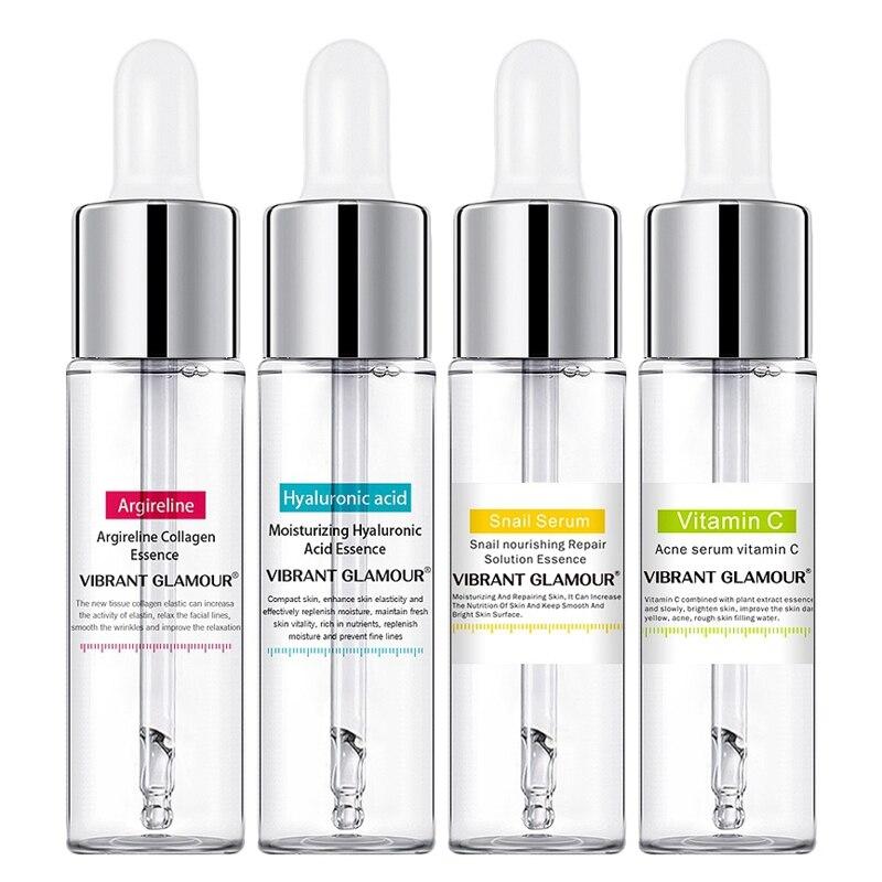 VIBRANT GLAMOUR 4Pcs/Lot Argireline Hyaluronic Acid Serum Snail Serum Anti-Wrinkle Face Serum Anti Acne Moisturizing Essence Fac