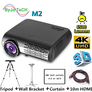 Poner Saund M2 6500 Lumens LED  projector 1280*800 FULL HD 4K 2K 3D Movie Support USB VGA AV Vs M5 10m HDMI Tripod Wall Bracket проектор other 1200lumens hdmi av usb vga uc30