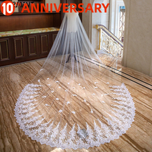 OLLYMURS New Sequined Lace Edge Veil One-Layer 300cm Wide and 400cm Long Cathedral Veil Wedding Accessories