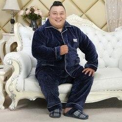 Plus Größe männer Winter Flanell Pyjamas Set Fett 5XL 150kg Warm Pyjama Anzug Männlichen Langen Ärmeln Verdicken hause Kleidung Pijama