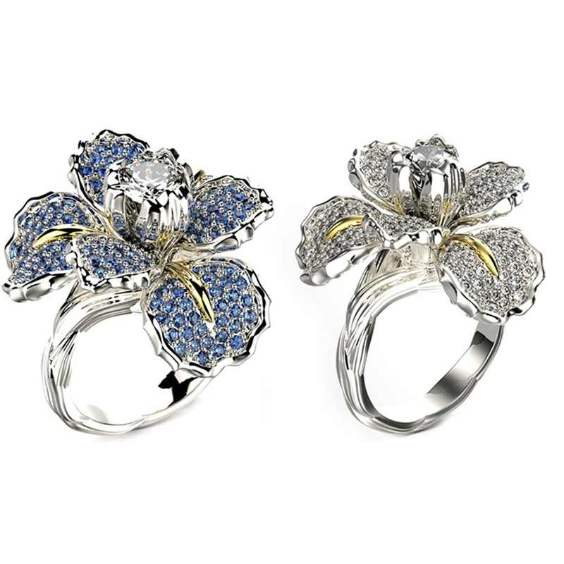 Anillo de compromiso de piedra de circonita de cristal con encanto de flor azul blanco grande femenino de lujo elegantes anillos de boda de plata y oro para mujer