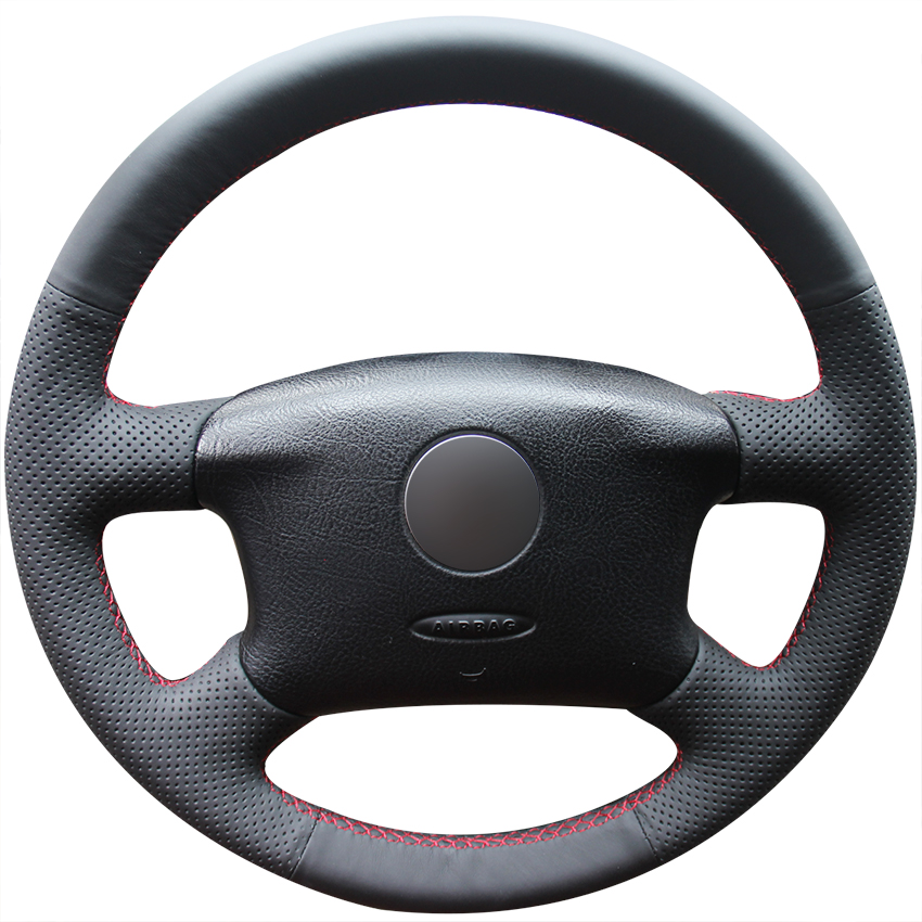 Hand stitched Black Artificial Leather Car Steering Wheel Cover for Volkswagen VW Passat B5 1996 2005 Golf 4 1998 2004 Seat|Steering Covers| |  - title=