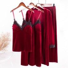 2019 Gold Velvet 4 Pieces Warm Winter Pajamas Sets Women Sexy Lace Robe Sleepwear Kit Sleeveless Nightwear