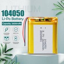 3.7v 2600mah 104050 li-polímero bateria recarregável para mp3 mp4 alto-falante projetor umidificador lâmpada solar banco de energia li po bateria