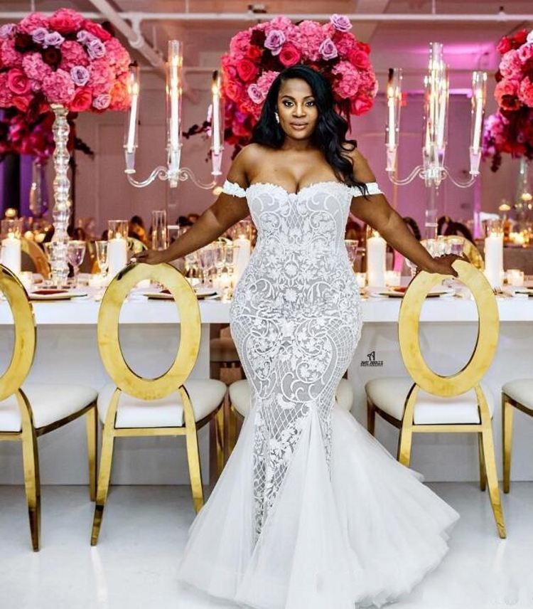 New Mermaid Wedding Dresses 2020 Modest Plus Size Off Shoulder Trumpet Bridal Gowns Sweep Train Tulle Lace African Wedding Dress