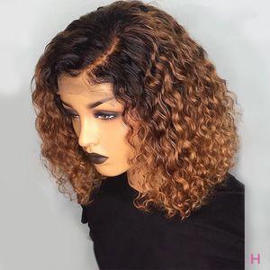 Image 1 - 13x4 150% קצר מתולתל בורגונדי צבע תחרה מול שיער טבעי פאות עם תינוק שיער ברזילאי דבש בלונד בוב לחתוך אישה שחורה
