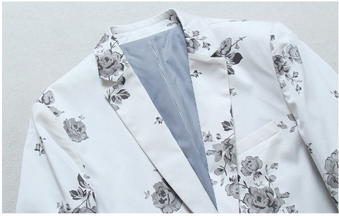 Neue Ankunft Britischen männer Mode Blume Drucken Weißen Anzug Lange Hülse Eine Taste Persönlichkeit Druck Blazer Formal Casual - 6