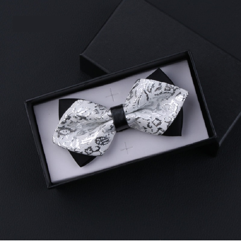2020 New Fashion Designer Men's Bow Ties Double Fabric Sliver White Arrow Bow Tie Wedding Party Club Butterfly Tie With Gift Box