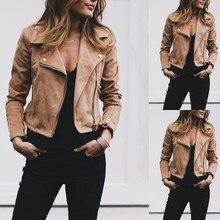 Fashion Long Sleeve Diagonal Zipper Bomber Jacket Women 2019 Autumn Winter Suede