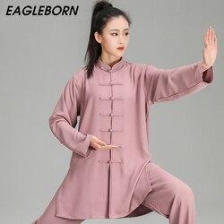 Nuove Donne Bianco Taiji Set Set di Abbigliamento vestito di Linguetta Kung Fu Uniformi di Arti Marziali Tai Chi Abiti di Abbigliamento Arti Marziali Cineserie mostra