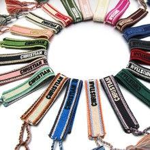 Zg tecido letras senhoras pulseira nova rosca ajustável pulseira de pulso boho wrap pulseira atacado pulseiras para mulher