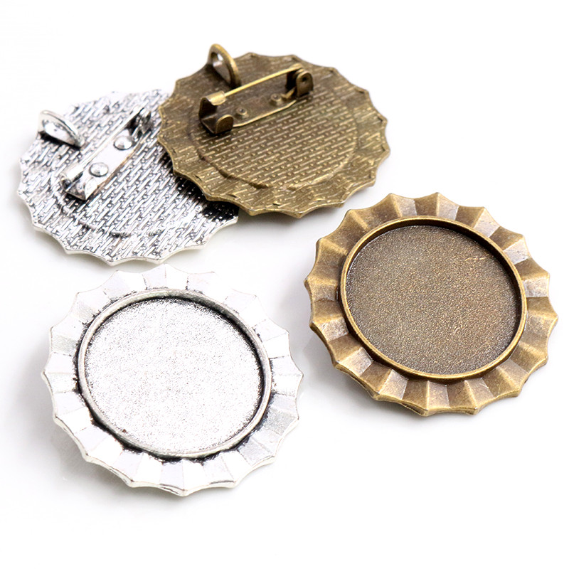 New Fashion 5pcs 25mm Inner Size Antique Silver Plated Brooch Cameo Cabochon Base Setting Charm Pendant (A5-36)