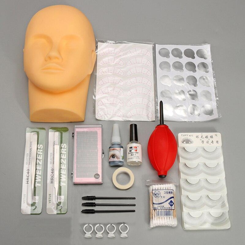1Set Training Head Eyelash Graft Kit Individual False Eyelashes Practice Head Glue Tool Graft  Eyelashes Extension Makeup Set