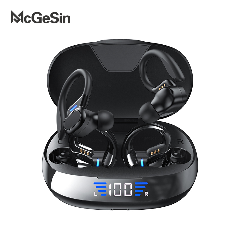 New Sport Headphones Wireless Bluetooth Earphones Touch Control LED Power Display Earbud Music Headset With 2600mAh Charging Bin