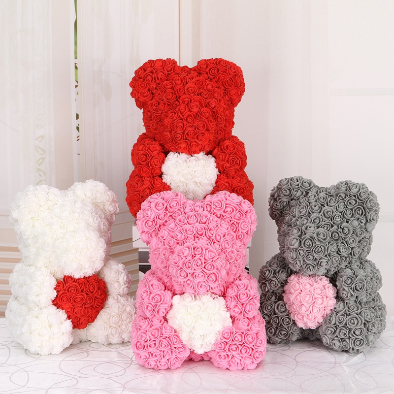 50/100/200 Pieces Teddy Bear of Roses Artificial Flowers For Wedding Decoration Indoor 5