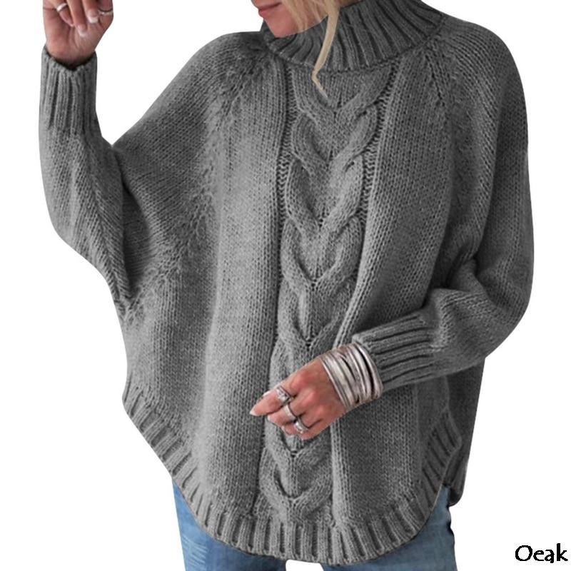 OEAK Women's Turtleneck Sweater Loose Knit Pullover Sweater Head Bat Sleeve Women's Street Large Size 2019 Autumn Winter