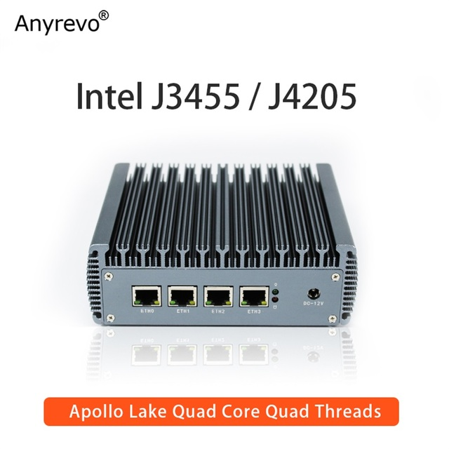 Fanless Soft Router Intel Celeron J3455 Quad Core Mini PC with VGA HD-MI 4 Intel Gigabit LAN for pfSense firewall AES-NI 1