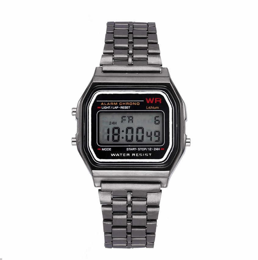 Reloj de pulsera de cuarzo impermeable Digital LED, Reloj de pulsera dorado, relojes para hombres y mujeres, marca superior, Reloj de lujo Masculino