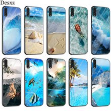 Beach Wave Wallpaper Case Glass For Huawei P30 P10 P20 P Smart Mate 20 Pro Lite Y6 Y9 Honor 7A 8X 9 10 Cover(China)