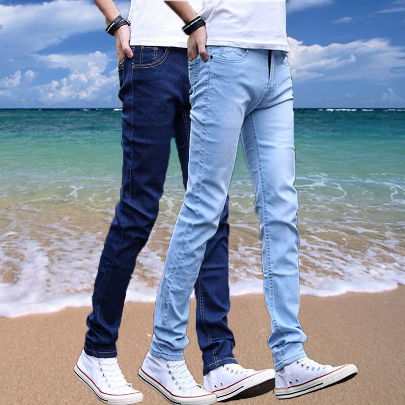 Summer Men Korean-style Slim Fit Pants Cowboy Pants Teenager Students Casual Pants Handsome Trousers