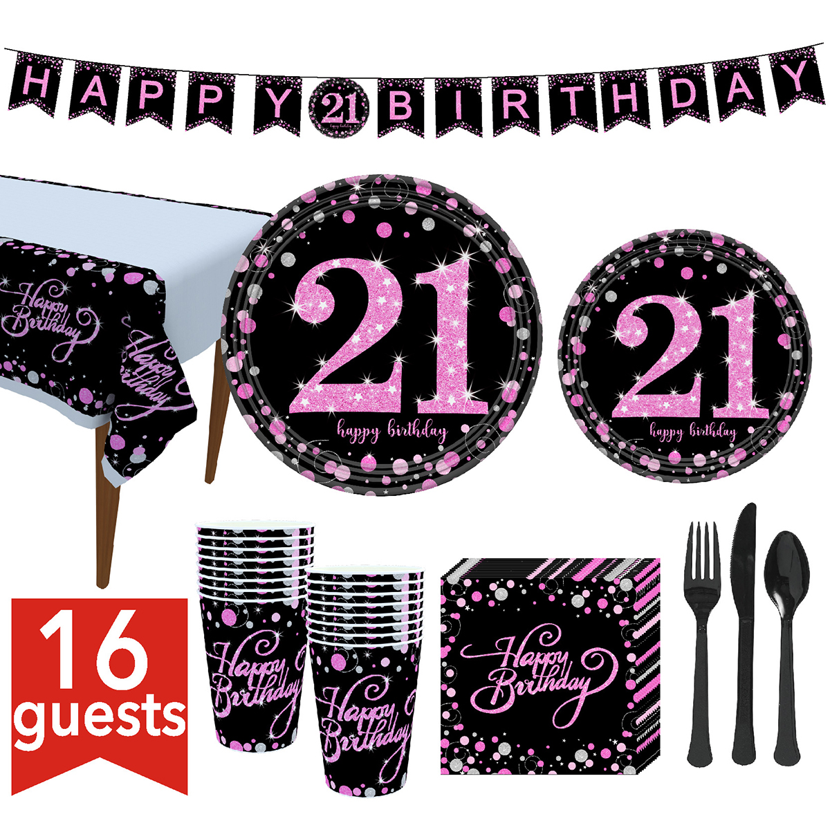 Birthday Party Tableware Kit Birthday Party Supplies Tableware Set Plates Cups Napkins Banner Tablecloth Fork Knife Spoon