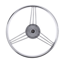 """Boat Marine Yacht 13"""" Stainless Steering Wheel With Knob 3 Spoke"""