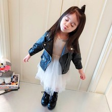 Autumn Baby Girls Coat 1-7T  Cute Toddler Girl Clothes Solid Color Comfort Slim Cotton Jacket Coat Zipper PU Leather Tops #23 hot sale 2017 baby girls leather jacket autumn child toddler girl heart shape back pu jackets coat fashion designer outwear
