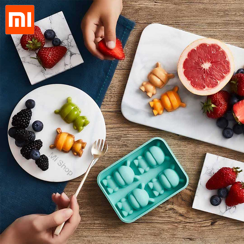Xiaomi Mijia Mitu Ice Tray RabbitFood Grade Silicone Cute Shape 4 Cubes Containers Cube Cake decoration Chocolate Mold