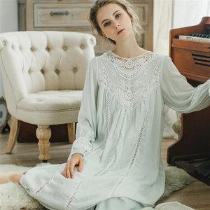 Image 4 - Женское платье для сна, кружевное винтажное платье принцессы с длинным рукавом, элегантный синий светильник, летняя хлопковая ночная рубашка размера плюс, T25