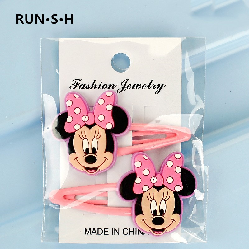 2Pcs Girls Mickey Minnie Bow Tie Wave Point Daisy PVC Cartoon Hairpins  Hair Accessories Barrette Hair Clips Headwear Kids Gift