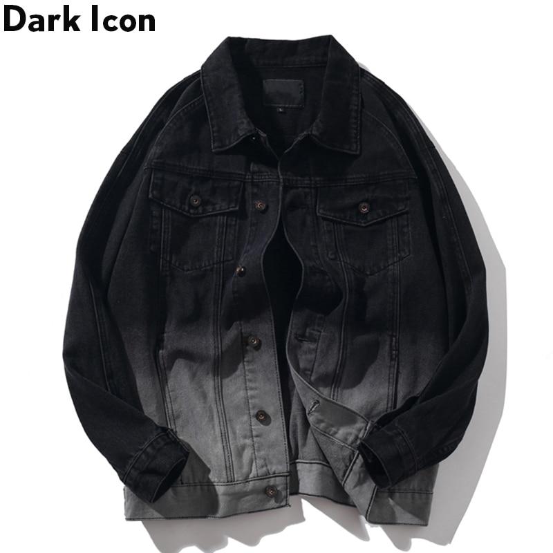 Dark Icon Gradient Denim Jacket Men Turn-down Collar Street Fashion Men's Jackets 2019 Jeans Jackets For Men