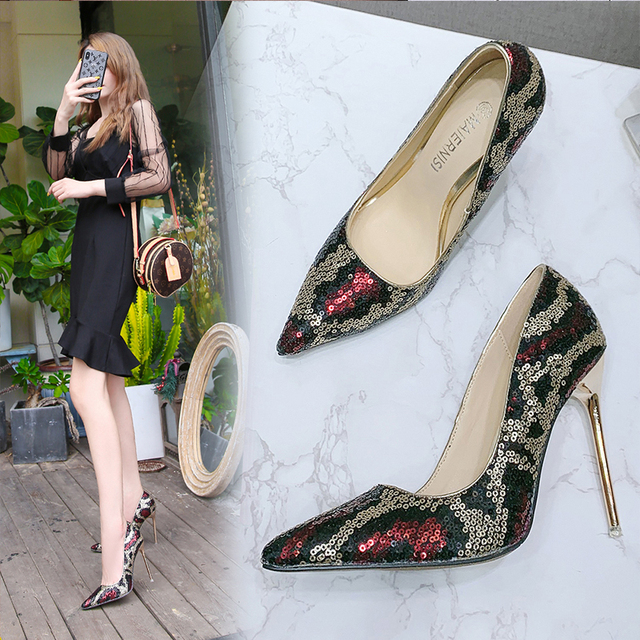 Voesnees Brand women's shoes New Fashion high heels 11cm Pumps Pointed Toe Shallow Mouth Dress Shoes Woman Printed Female pumps 5