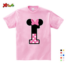 Boy/Girl Birthday 1-9 Digital Bow Tie Print T-Shirt Children Short Cotton Top Design Your Name and Number Cute
