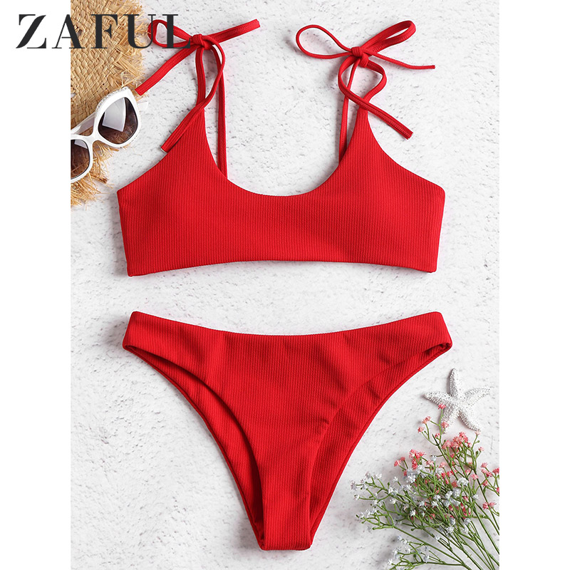 ZAFUL Bikini Bralette Swimwear Women Ribbed Tie Swimsuit Padded Sexy Tie Shoulders Biquni Bathing Suit Maillot De Bain Summer