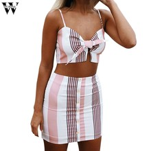 Womail Women Sexy Club Suit Sets Sexy Beach Bow Stripe Vest Shirt Tops Blouse Skirts 2PCS Set Suit Sets S-XL(China)