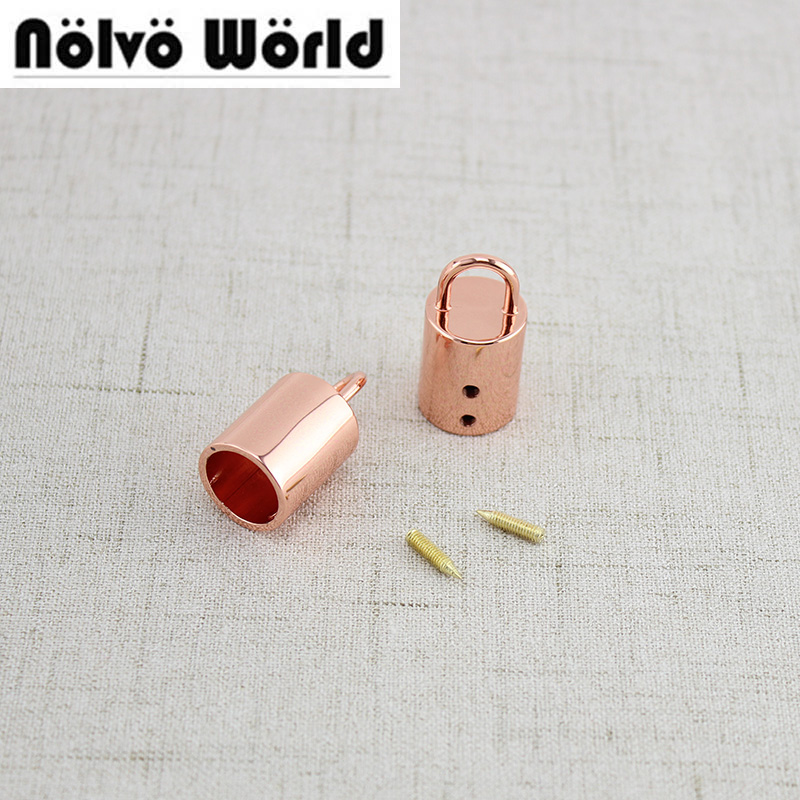 10pcs 2*1.5cm Rose Gold Light Gold Silver 6 Colors,Fashion Handbag Leather Stopper Metal Tassel Ornament Cap For Bag Purse
