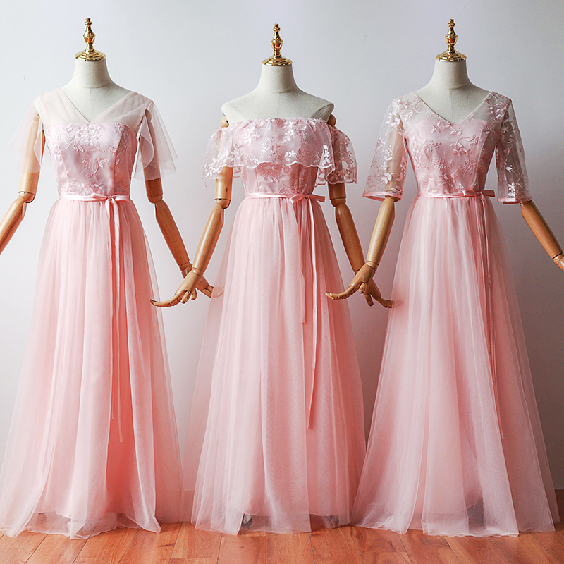 Junior Pink Bridesmaid Dress Plus Size Long Dress For Wedding Party Woman Embroidery Tulle Sexy Prom Party Dress Sister Elegant