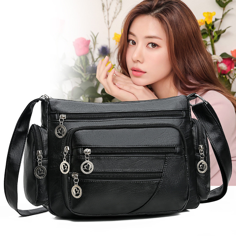 Convenient Multi-pocket Female Shoulder Bag For Middle-Aged Women Mommy Outdoor Handbags Soft PU Leather Crossbody Messenger Bag