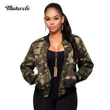 Mutevole Autumn Thin Camouflage Jacket Women Elegant Long Sleeve Bomber Jacket Coat Camo Casual Army Green Pocket Cropped Jacket