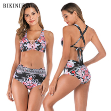 New Sexy Floral Print Bikini Women Swimsuit Cross Back Bandage Swimwear M-2XL Girl High Waist Bathing Suit Hollow Set