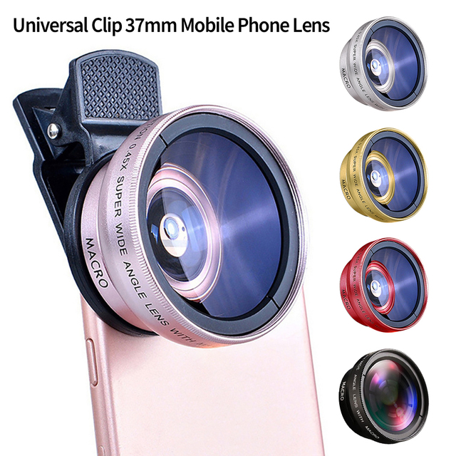 2 IN 1 Lens Universal Clip 37mm Mobile Phone Lens Professional 0.45x 49uv Super Wide-Angle + Macro HD Lens For iPhone Android 1