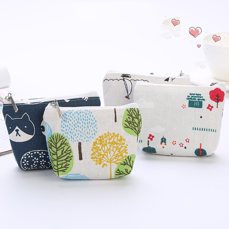 2019 Simple Coin Bag For Kids Change Purse Children's Small Wallet Cute Linen Floral/Cartoon Money Bag Girls Zipper Coin Pouch