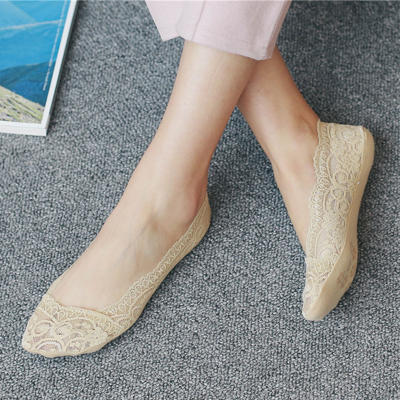 Womens Cotton Lace Antiskid Invisible Liner Socks Elastic Comfy Female Summer Ankle Boat Low Cut Woman Short Sock Slipper