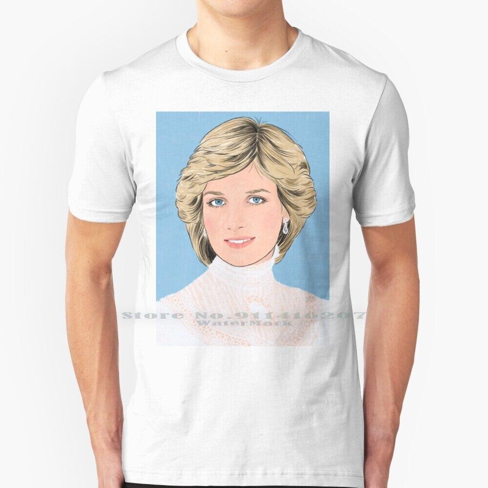 Lady Di T Shirt 100% puro cotone Lady Di Diana Royal Family Portrait Princess Vintage