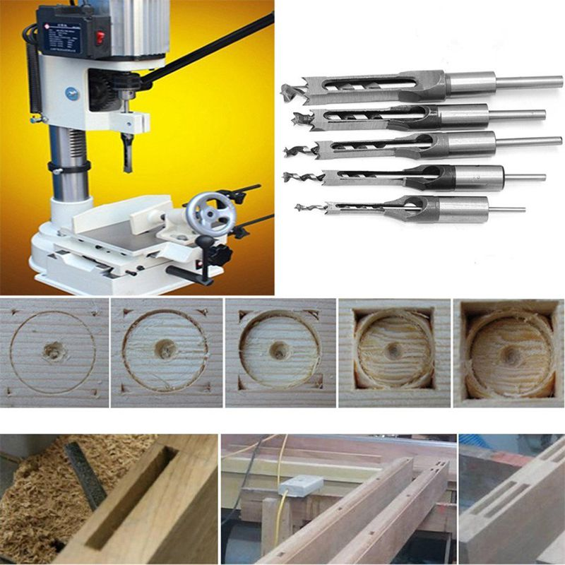 4Pcs Woodworking Square Hole Drill Bits Wood Mortising Chisel Set Mortise Chisel Bit Kits Woodworking Hole Saw Sets with Twist D