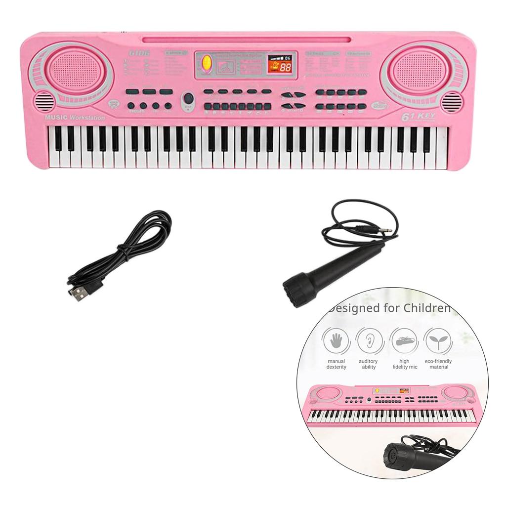 Electronic Organ 61 Keys Keyboard Piano Instrument Kids Toy w/ Mic USB / Battery Powered for Children