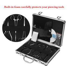 Professionelle Tattoo Tool Kit 5 stücke Piercing Zangen/15 stücke Piercing Nadeln/EINE Tasche Von Körper Piercing Schmuck und EIN Lehr CD