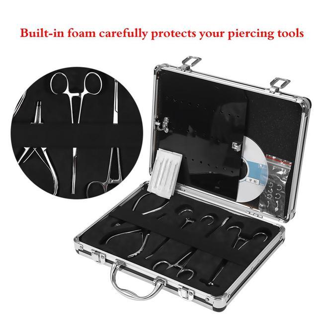 Profissional kit de ferramentas tatuagem 5 pces piercing alicates/15 pces piercing agulhas/um saco do corpo piercing jóias e um cd ensino