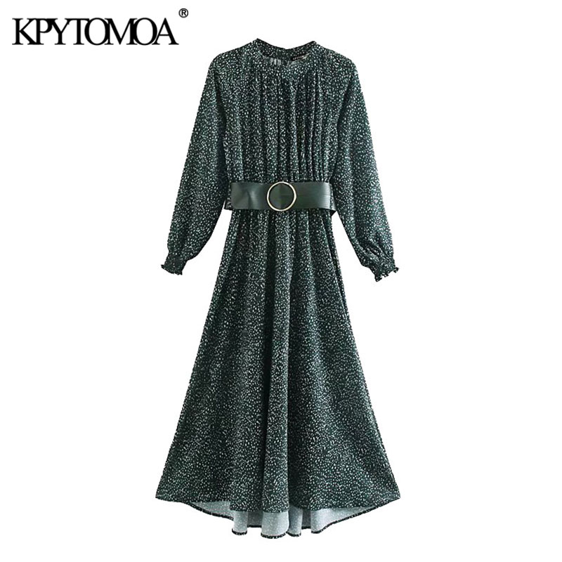KPYTOMOA Women 2020 Chic Fashion Printed With Belt Maxi Dress Vintage Stand Collar Long Sleeve Female Dresses Vestidos Mujer